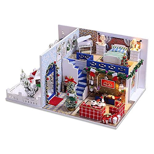 PPQQBB Casa de muñecas Linda y romántica Kit de la casa de DIY 1:24 Scale Habitación Creativa con Cubierta a Prueba de Polvo y Movimiento de música para el Aniversario de c