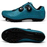 BETOOSEN Mens Womens Mountain Cycling Shoes MTB Bicycle Shoes with Quick lace Self-Locking Compatible SPD/2-bolt (9.5 M US Women/8 M US Men, Stripes/Blue)-SD