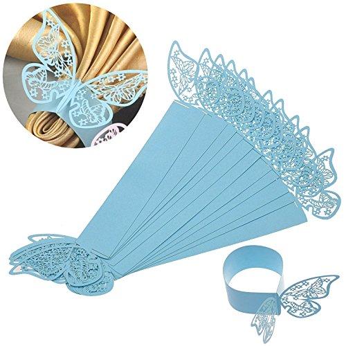 ElecMotive 50 Stück Schmetterling Serviettenringe Hochzeitsfeier Tischdekoration Papier Stoffservietten Ring (Blau)