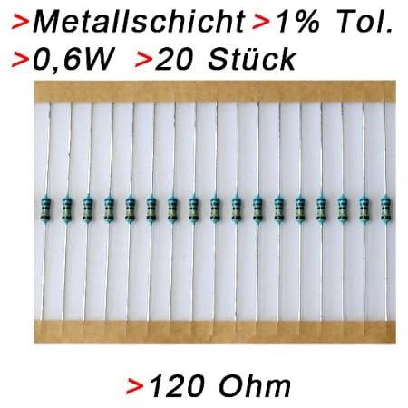 Widerstand 120 Ohm 20 Stück Metallschicht 0 6w 1 Metallfilm Widerstände Elektronik