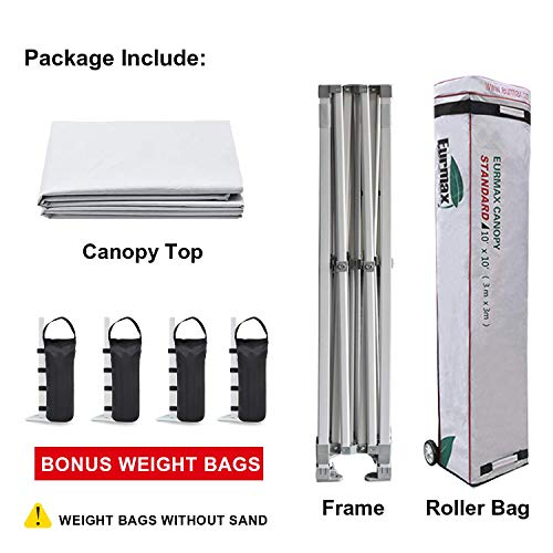 Eurmax 10'x10' Ez Pop Up Canopy Tent Commercial Instant Canopies with Heavy Duty Roller Bag,Bonus 4 Canopy Sand Bags (White)