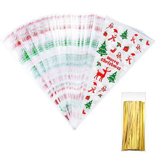 100 Counts Weihnachten Gemusterten Kegel Cellophan Taschen Behandeln Süßigkeitstaschen mit 100 Stück Gold Twist Ties für Weihnachtsfeier Gefallen