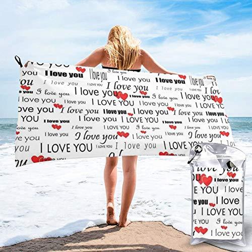 Sunmuchen I Love You Words with Hearts Toalla de baño, toalla de gimnasio, toalla de playa, uso multiusos para deportes, viajes, súper absorbente, microfibra suave de secado rápido, ligero