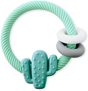 Itzy Ritzy Silicone Teether with Rattle Features Rattle Sound, Two Silicone Rings and Raised Texture to Soothe Gums, Ages ...