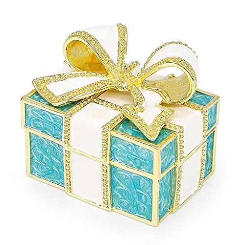 Caja De Joyería con Nudo De Lazo Caja De Baratija De Joyería Rosada Diamante Pintado A Mano Adornos Clásicos Regalo Artesanal para (Color : Jewelry Box B)