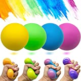 Eutreec Stress Ball Toys Color Changing - Sensory Squeeze Toys Squishy Balls for Teens Kids and Adults Stress Relief Balls for Easter Stocking Party Bundle - 4 Pack(Green/Yellow/Blue/Pink)
