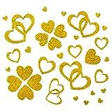 Oblique Unique 100 Stück Herzen Sticker in Rot, Gold oder Silber - Glitter Glitzernde Herzen (Gold)