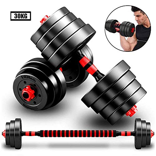 Adjustable Dumbbells Set for Women or Men 30kg/66lbs Hand Weights Dumbell, with Connecting Rod Used As Barbell for Home Gym Workout,red
