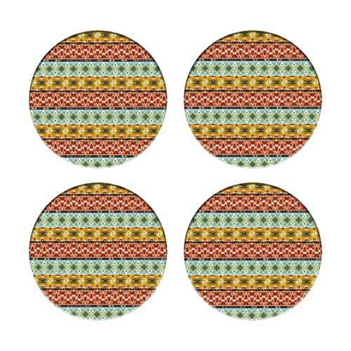 Posavasos para Bebidas,Patrón geométrico Decorativo Colorido Transparente en diseño de Estilo Americano,Manteles...