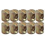 HALJIA 10pcs M8* 15mm Corps Écrous à fente chevilles Écrous pour meubles Chaises de lit de berceau