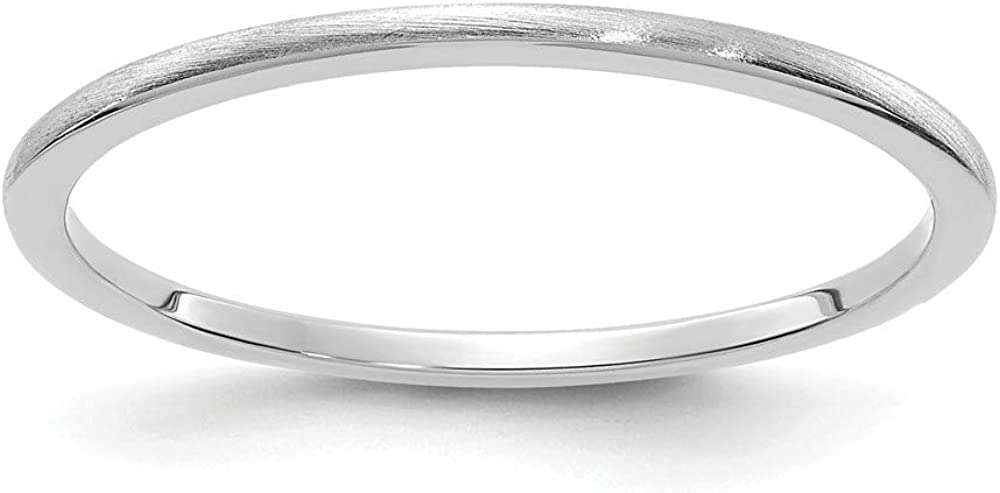 Solid 14K White Gold 1.2mm Classic Dome Stackable Brushed Matte Finish Band Thin Wedding Anniversary Ring