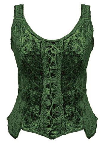 Dark Dreams Gothic Mittelalter LARP Bluse Alina, Größe:L/XL, Farbe:dunkelgrün