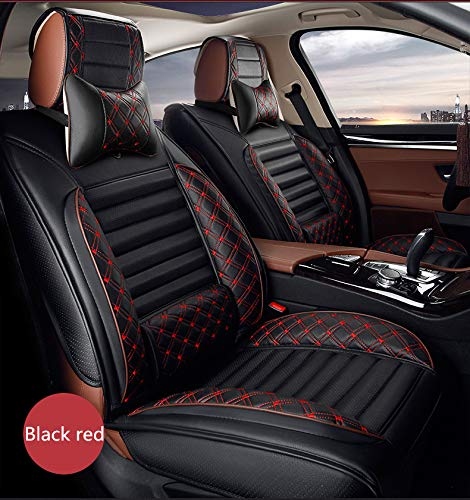 All Weather Custom Fit Seat Covers for Infiniti M45 5-Seat with Headrest and Lumbar Cushion Luxury Package Black red Full Set