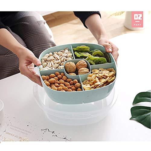 GeGien 5 Grids Separate Fächer Weizenstrohsüßigkeiten-Snack-Obstschachtel mit Deckel Sortierablagen