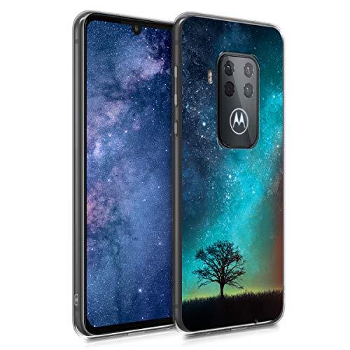 kwmobile Motorola One Zoom Hülle - Handyhülle für Motorola One Zoom - Handy Case in Galaxie Baum Wiese Design Blau Grau Schwarz
