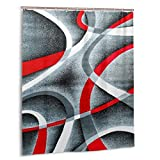 Jreergy Shower Curtain Gray Black Red White Swirls Shower Curtains for Bathroom Decor Waterproof Polyester Fabric Bath Curtains 60 X 72 Inches