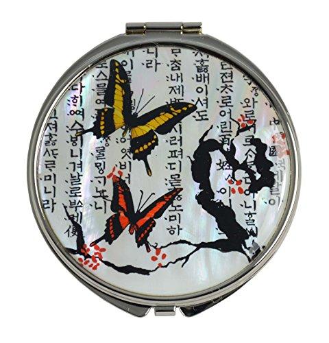 Ravissant miroir de poche ou de sac, décorations fantaisie de nacre naturelle, double miroir 1x2, design papillon d'Asie