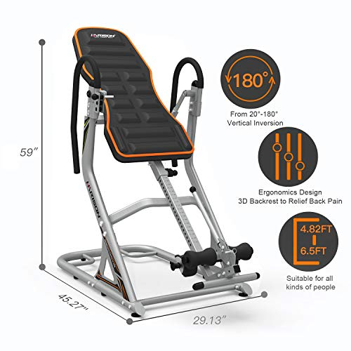 Product Image 6: HARISON Heavy Duty Inversion Table for Back Pain Relief 350 LBS Capacity with 3D Memory Foam, Back Inversion Chair with 180 Degree Full Inversion