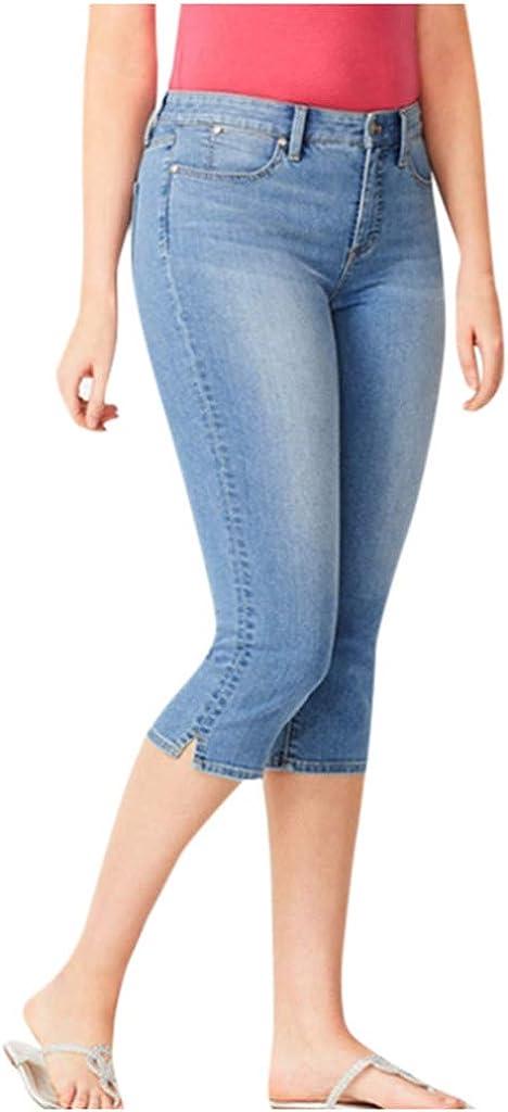 aihihe Womens Capri Jeans Stretch Plus Size Ultra Soft Comfy Mid-Rise Skinny Jean Denim Capris