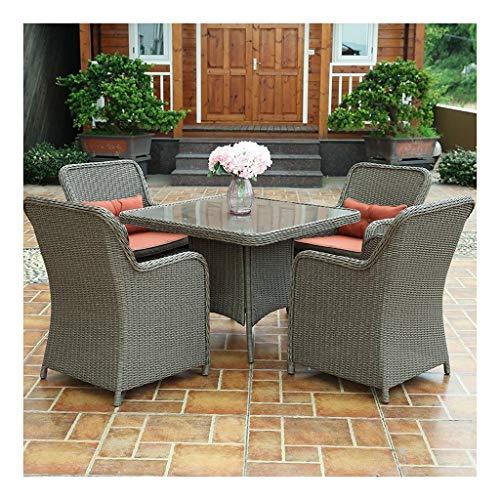 BDBT Outdoor Furniture Rattan Garden Furniture Set Glass Top Coffee Table Patio Set Coffee Table Patio Conversation Outdoor