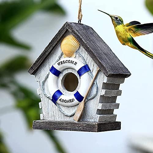 QKFon, casetta per uccelli dipinta a mano, in resina colorata, decorazione creativa da appendere, ideale per esterni, cortile, giardino, regalo per bambini, parenti, amici, 18 x 11 x 21 cm