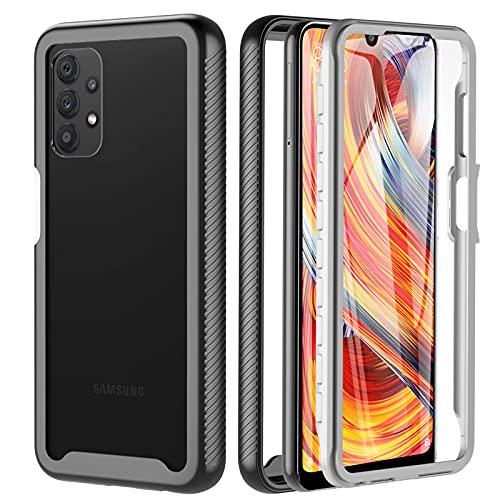 OWKEY Coque pour Samsung Galaxy A32 4G (Pas pour A32 5G), Etui Samsung A32 360 degrés Antichoc Anti-Rayure Housse Integrale Transparent Silicone TPU Bumper Case Coque pour Samsung A32 4G 6.4'' - Noir