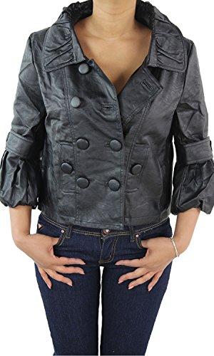 Damen Lederjacke Kunstlederjacke Leder Jacke Damenjacke Jacket Blazer Schwarz Braun Schwarz M/38