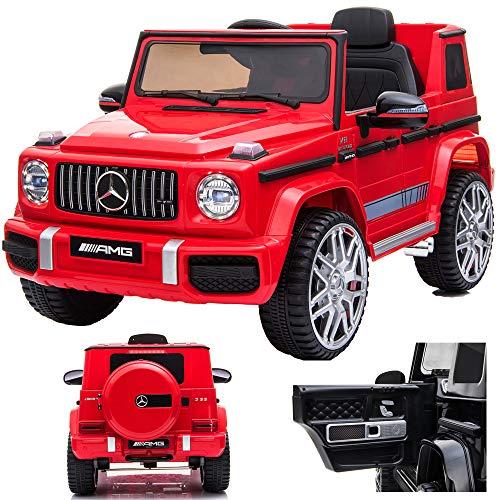 SIMRON Mercedes G 63 G63 AMG V8 Biturbo Kinderauto Kinderfahrzeug Kinder Elektroauto Jeep, SUV, Geländewagen, 12V / 2X Motoren (Rot)