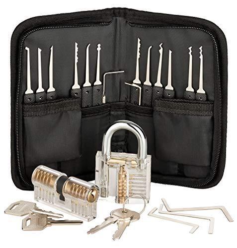 Premium Lockpicking Set Lock Pick Tools 25-delige Kit 2 Duidelijke Sloten In 2 Moeilijkheden Voor Oefeningstrainingen En Professionele Slotenmakers