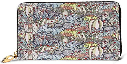 naotaori Cartera de Mujer Cactus Cacti Southwestern Desert Succulent Print Leather Wallet Lightweight PU Leather Purse Extra Capacity Zipper Clutch Practical Money Organizers with Card Slots F