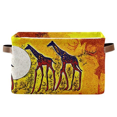 JinDoDo - Cestas cuadradas de almacenamiento abstractas de jirafa africana de animales plegables con caja de almacenamiento interior impermeable para armario de baño, juego de 1