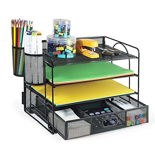 DALTACK 4-Trays Desktop File Organizer with Pen Holder | Letter Tray Paper Tray with Drawer and 2 Pen Holder | Black Mesh Office Supplies Desk Organizer for Office Home