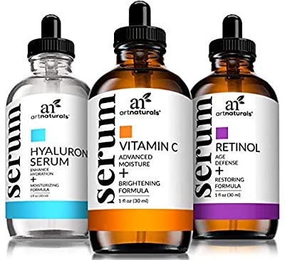 ArtNaturals Anti-Aging-Set with Vitamin-C Retinol and Hyaluronic-Acid - (3 x 1 Fl Oz / 30ml) Serum for Anti Wrinkle and Dark Circle Remover – All Natural and Moisturizing by Artnaturals