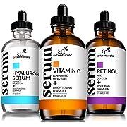 Art Naturals Anti-Aging Set: Vitamin C Serum 29 ml, Retinol Serum 29 ml, & Hyaluronsäure Serum 29 ml, Falten Reduzierend   Anti-Age Behandlung   Natürliche Inhaltsstoffe