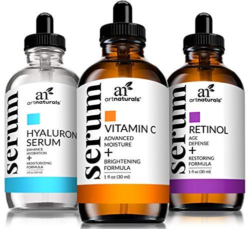 Art Naturals Anti-Aging Set: Vitamin C Serum 29 ml, Retinol Serum 29 ml, & Hyaluronsäure Serum 29 ml, Falten Reduzierend | Anti-Age Behandlung | Natürliche Inhaltsstoffe