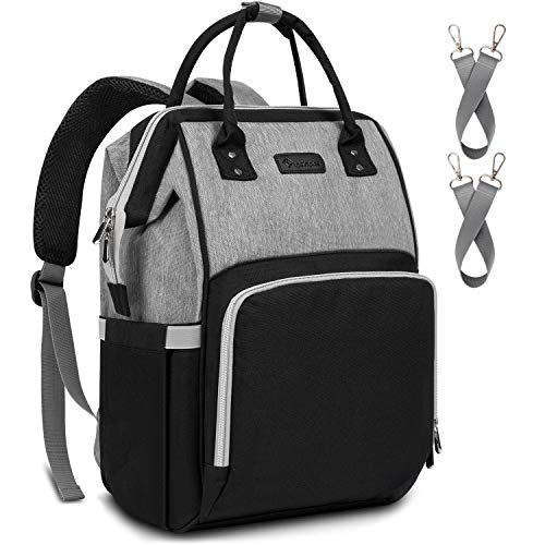 Diaper Bag Backpack Nappy Bag Upsimples Baby Bags for Mom and Dad Maternity Diaper Bag with USB Charging Port Stroller Straps Thermal Pockets,Water Resistant, Black Gray