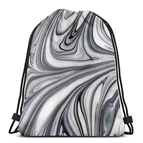 Drawstring Sack Backpacks Bags,Mix of White and Black Hallucinatory and Surreal Liquid Marble Figures Graphic Artwork,Adjustable.,5 Liter Capacity,Adjustable.