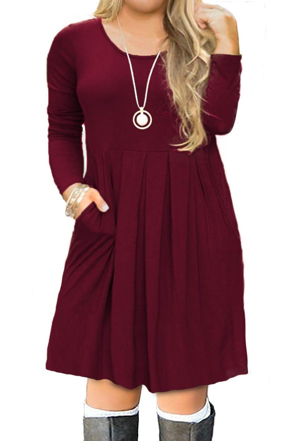 Plus Size Dresses - Women's Casual Loose Pocket Long Dress Short Sleeve Split Maxi Dresses