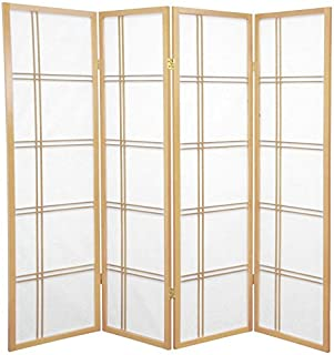 Oriental Furniture 5 ft. Tall Double Cross Shoji Screen - Natural - 4 Panels