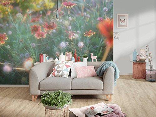 awallo Fototapete Motiv Blumenwiese in Grün Rot Gelb in 400x250cm Bild-Tapete Wand-Tapete Wand-Bild XXL Digitaldruck hochwertige Vliestapete Made in Germany einfache & schnelle Verarbeitung