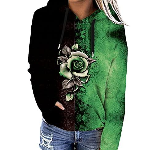 SLYZ Otoo Ropa De Mujer Europea Y Americana Impresa Suter con Capucha Chaqueta Casual Ms El Tamao De La Parte Superior del Suter De Las Mujeres