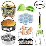 12pcs Accessories for Instant Pot Compatible with Pressure Cooker Include 2 Steamer Baskets, Non-Stick Springform Pan,Egg Rack,Gloves,Food Clip,Fridge Stick