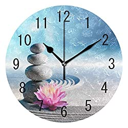 hiusan Zen Stone Lotus Flower Wood Wall Clocks Silent Non Ticking Decorative for Living Room Bedrooms Office 12 Inch for Gifts