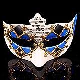 Máscara de máscara de máscara de máscaras venecianas para fiestas, máscara de notas musicales misteriosas para Halloween, carnaval, maquillaje azul