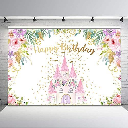 Avezano 7x5ft Castel Birthday Backdrop Flowers Gold Dots Fantasy Castel Happy Birthday Background Vinyl Fairy Princess Castel Birthday Party Backdrops for Girls (7x5)