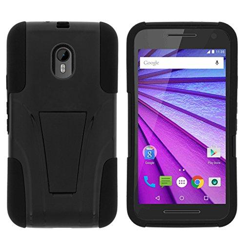 TurtleArmor | Compatible with Motorola Moto G 3rd Gen Case (2015) [Gel Max] Combo Hybrid Case Hard Shell Kickstand Impact Absorber Layer Beach - Black