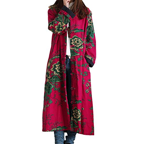 LZJN Women Trench Coat Floral Print Long Jacket with Pockets (Red)