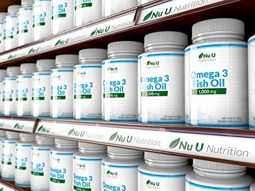 Omega 3 Fischöl 1000 mg von Nu U, 365 Kapseln (Versorgung für 12 Monate) – 100% GELD-ZURÜCK-GARANTIE – Maximale Stärke und Aufnahmefähigkeit – Hergestellt in Großbritannien - 7