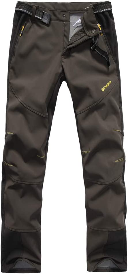 Vagasi Mens Hiking Cycling Pants Waterproof Quick Dry Fleece Lined Winter Pants Water Repellent Outdoor Fishing