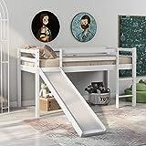 Mingfuxin Marco de cama infantil con tobogán y escalera, litera de madera para niños, marco de madera de pino macizo con escalera ajustable y tobogán (blanco, 190 x 90 cm)